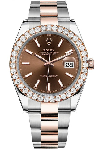 Rolex Custom Diamond Bezel Datejust 41mm Chocolate Dial Rose Gold Oyster Men's Watch 126331