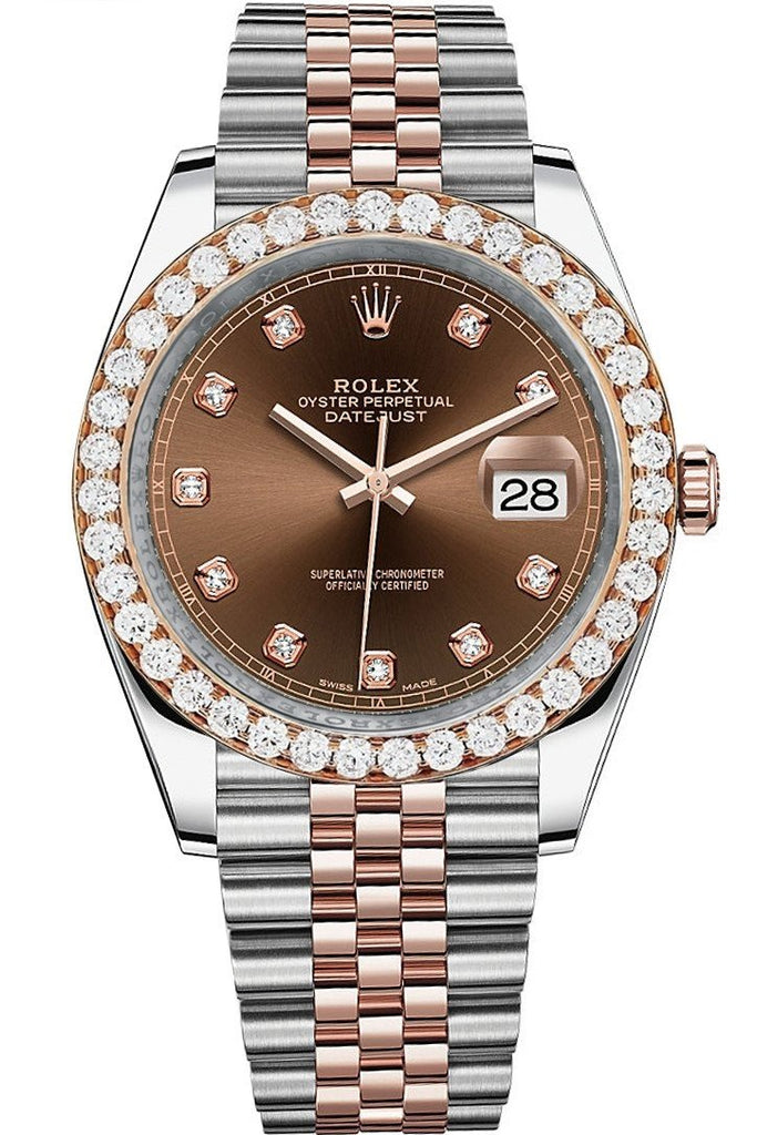 Rolex Custom Diamond Bezel Datejust 41Mm Chocolate Set With Dial Two Tone Jubilee Mens Watch 126331