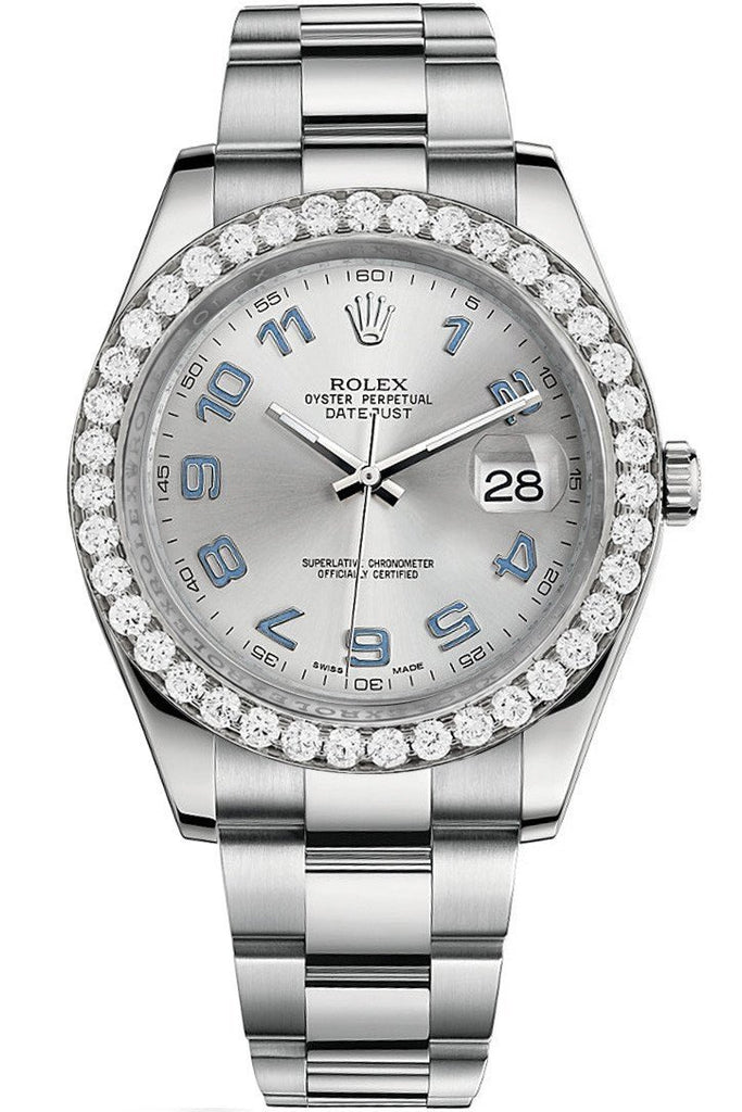 Rolex Custom Diamond Bezel Datejust 41Mm Rhodium Arab Dial Steel Oyster Mens Watch 116300 / Si None