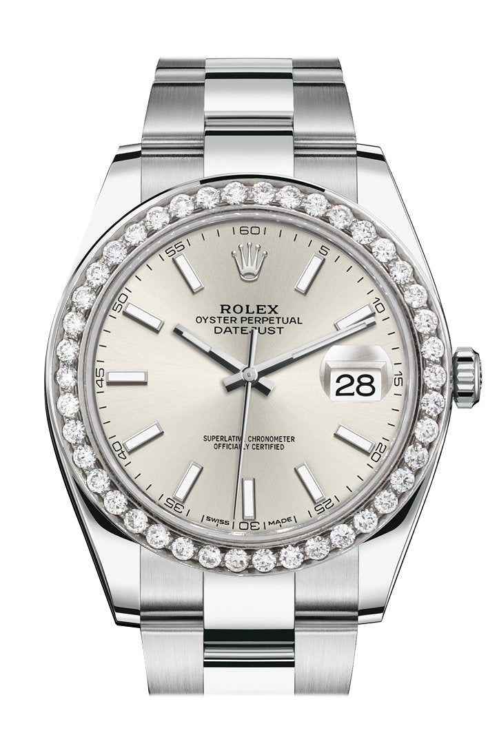 Rolex Custom Diamond Bezel Datejust 41Mm Silver Dial Steel Oyster Mens Watch 126300 / Si None