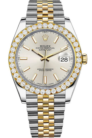 Rolex Custom Diamond Bezel Datejust 41mm Silver Dial Two Tone Jubilee Men's Watch 126333