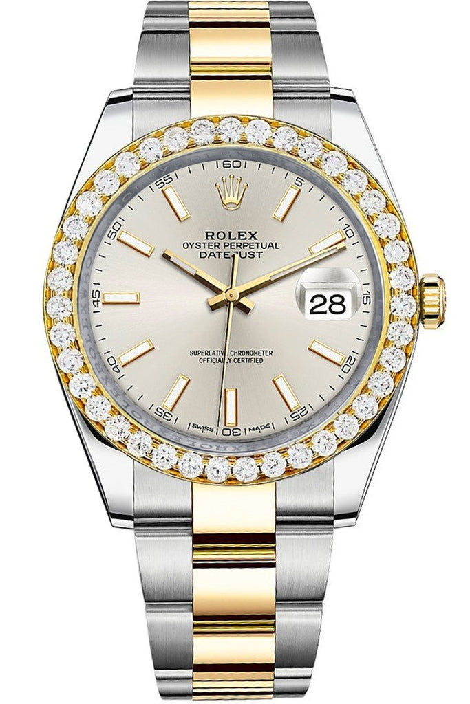 Rolex Custom Diamond Bezel Datejust 41Mm Silver Dial Two Tone Oyster Mens Watch 126333 / Si None