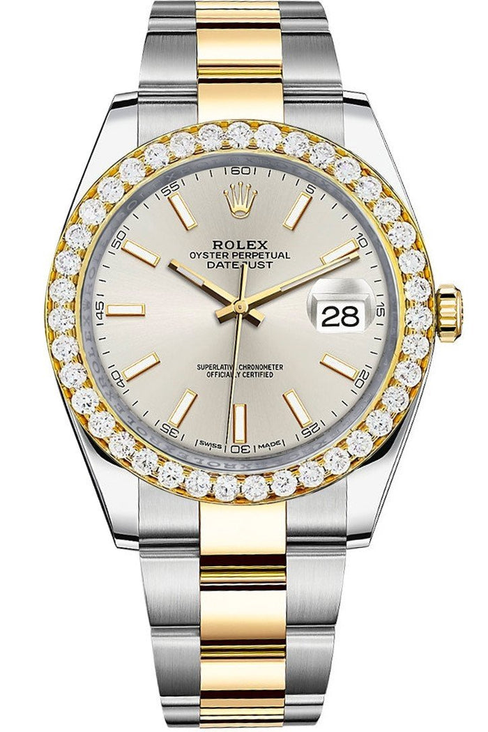 ustom Rolex Diamond Bezel Datejust 41 Silver Two Tone 126333 | WatchGuyNYC