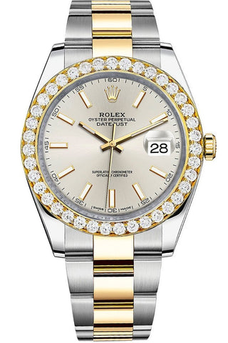 Rolex Custom Diamond Bezel Datejust 41mm Silver Dial Two Tone Oyster Men's Watch 126333