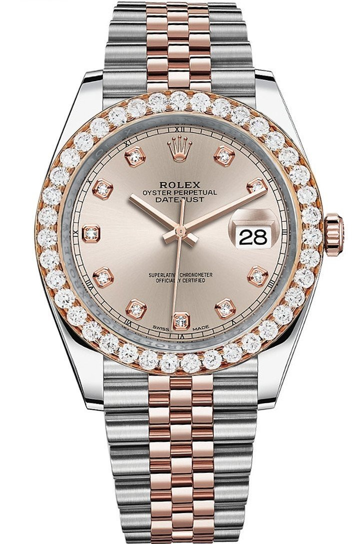 Rolex Custom Diamond Bezel Datejust 41Mm Sundust Set With Dial Two Tone Jubilee Mens Watch 126331 /