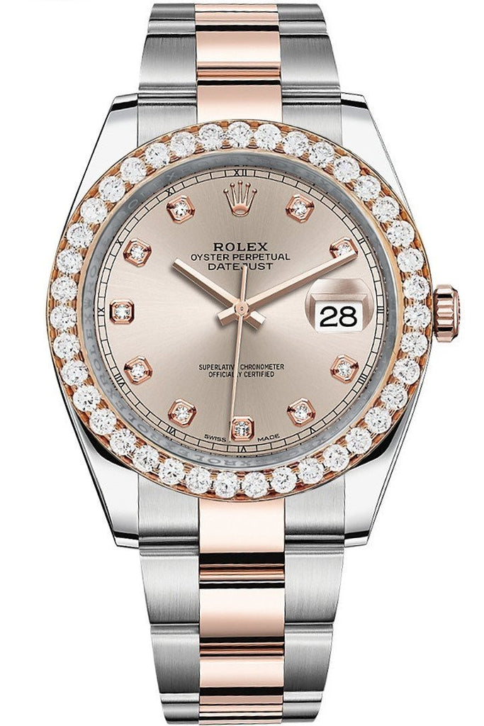 Rolex Custom Diamond Bezel Datejust 41Mm Sundust Set With Dial Two Tone Oyster Mens Watch 126331 /