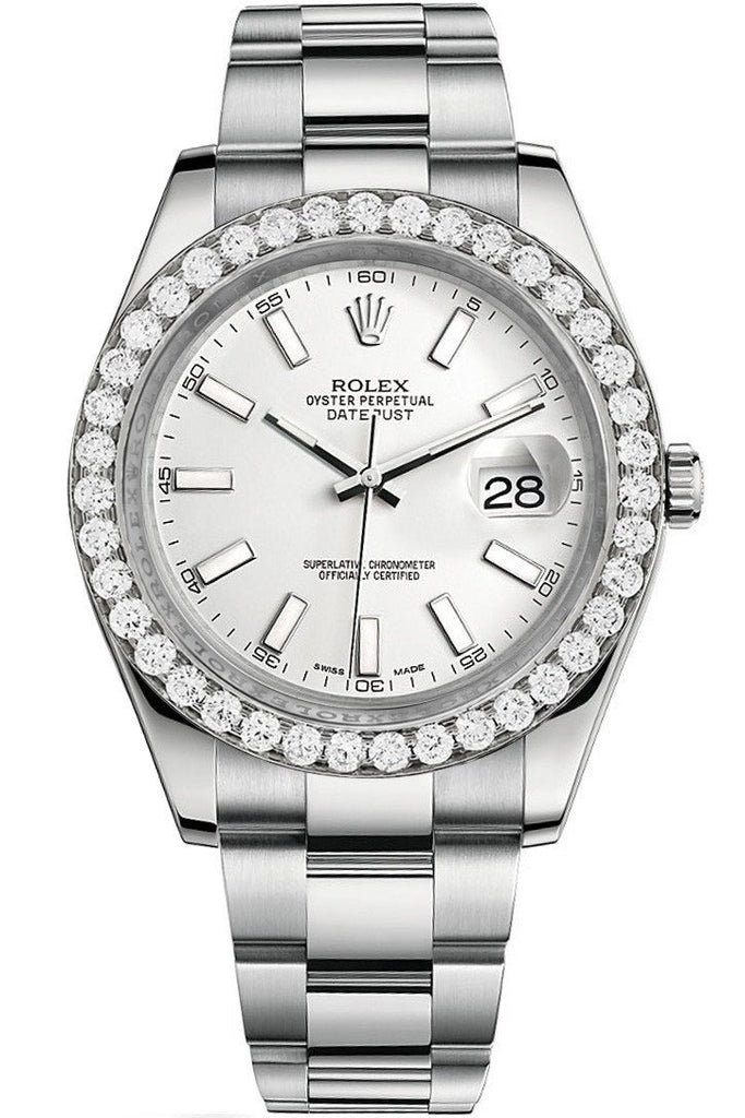 Rolex Custom Diamond Bezel Datejust 41Mm White Dial Steel Oyster Mens Watch 116300 / Si None