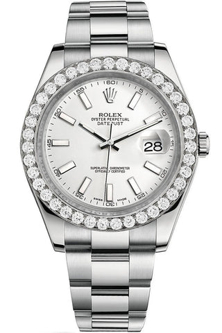 olex Custom Diamond Bezel Datejust 41 Steel Men 116300 | WatchGuyNYC