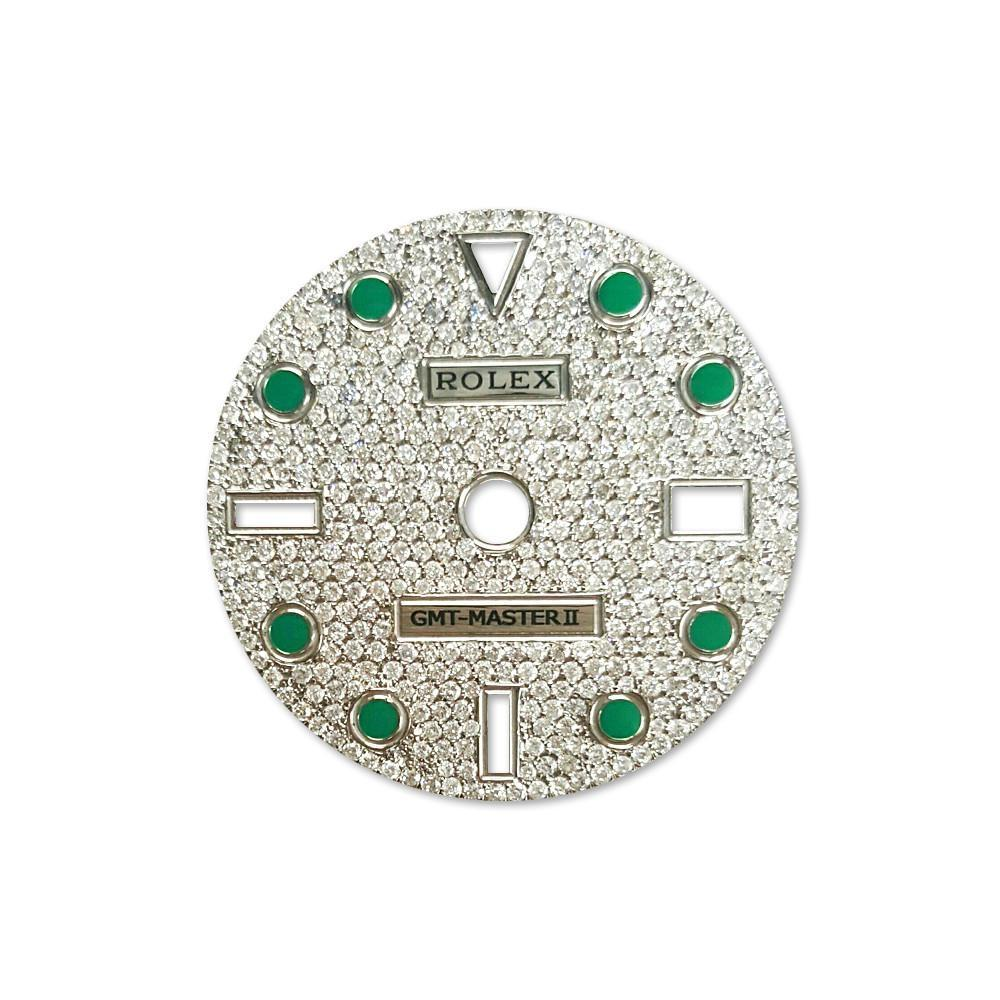 Rolex Custom Gmt Master Ii Diamond Dial Emerald Green Dil_061 / None Custom-Dial