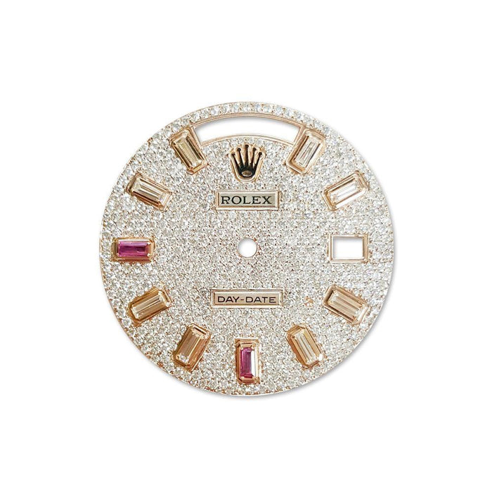 Rolex Custom Day Date Diamond Dial 10 Baguette Ruby and Diamond DIL 063