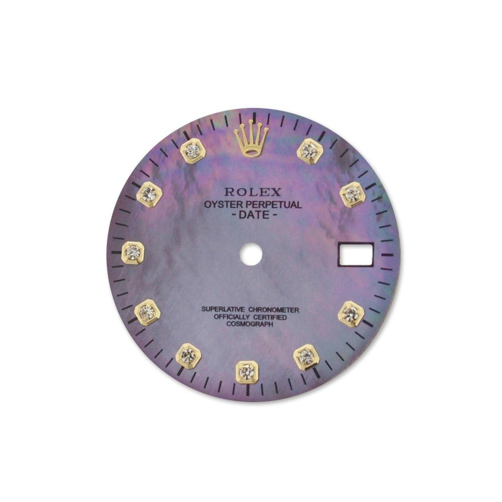 Rolex Custom Date Purple Pearl Dial Set Diamond Dil 030 / None Custom-Dial