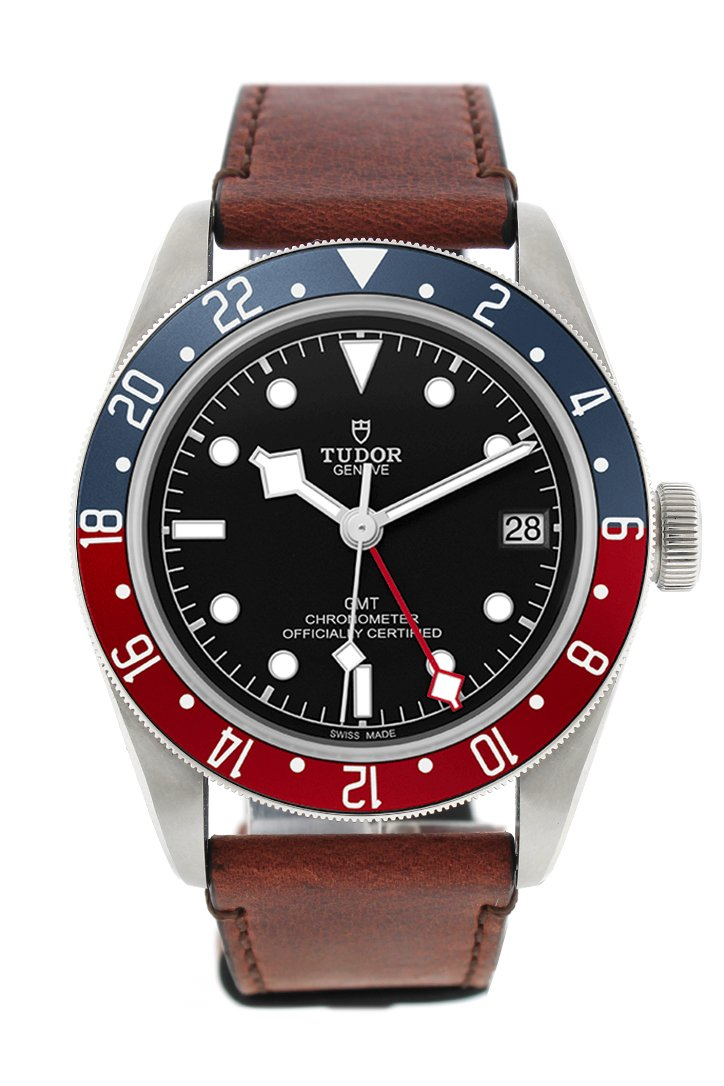 Tudor Black Bay Automatic Dial Mens Gmt Brown Leather Watch 79830Rb