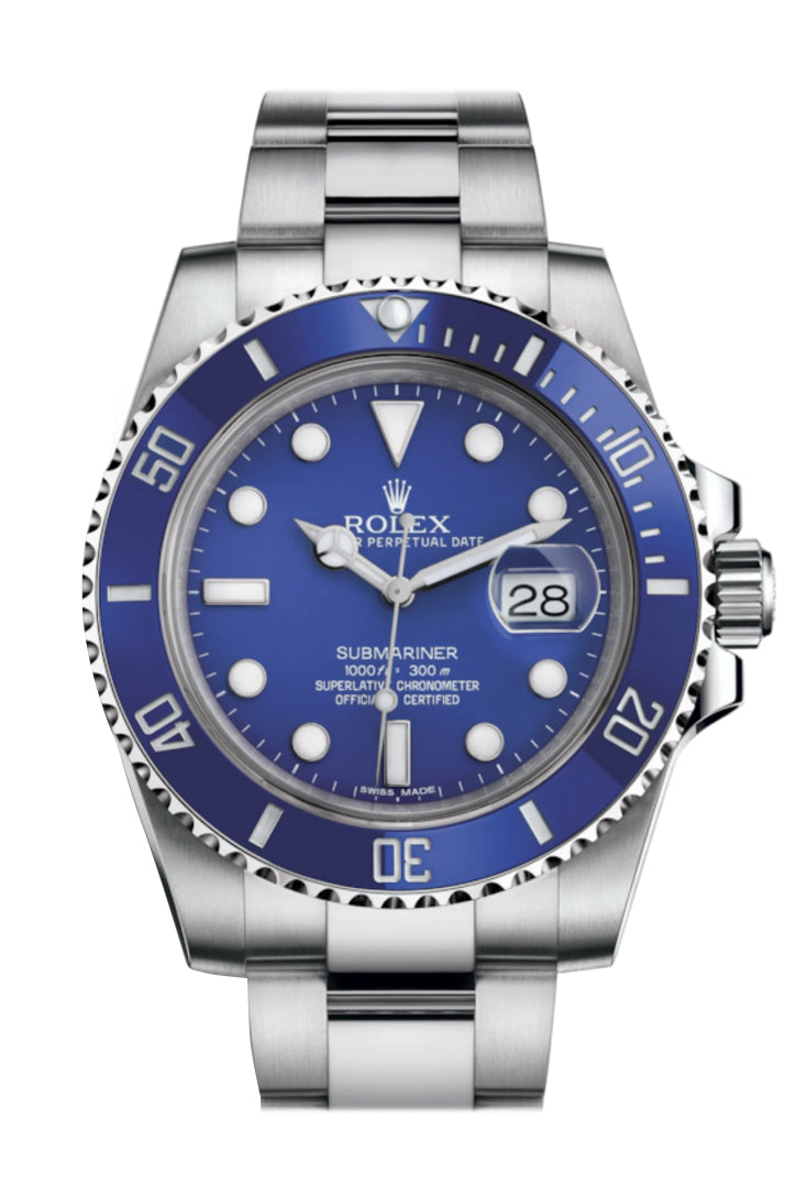 Rolex Submariner Date 18K White Gold Blue Dial Mens Watch 116619LB 116619