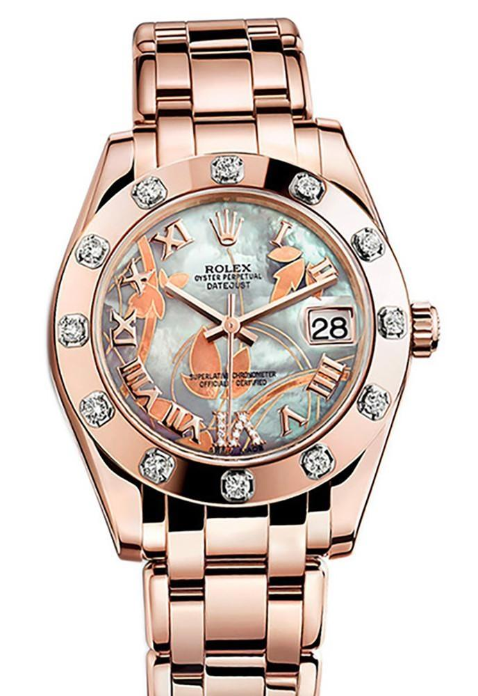 Rolex Pearlmaster 34 Goldust Dream Roman Diamonds Set On Vi Dial 18K Rose Gold Watch 81315 Pearl