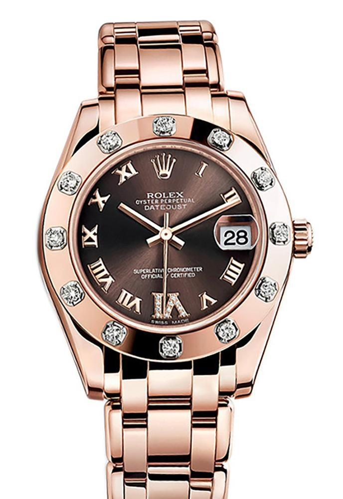Rolex Pearlmaster 34 Chocolate Set With Diamonds Set On Vi Dial 18K Rose Gold Watch 81315