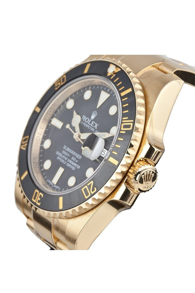 ROLEX Submariner Date 40 Black Dial 18k Yellow Gold  Men's Watch 116618