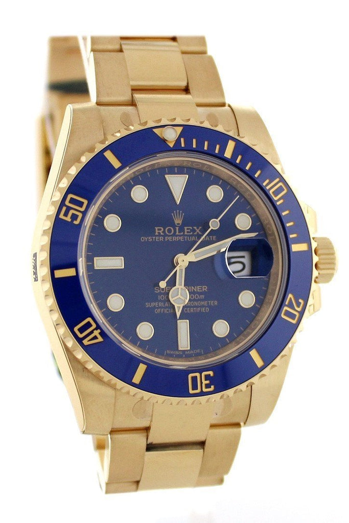 Rolex Submariner Date 40 Blue Dial 18K Yellow Gold Mens Watch 116618 / None