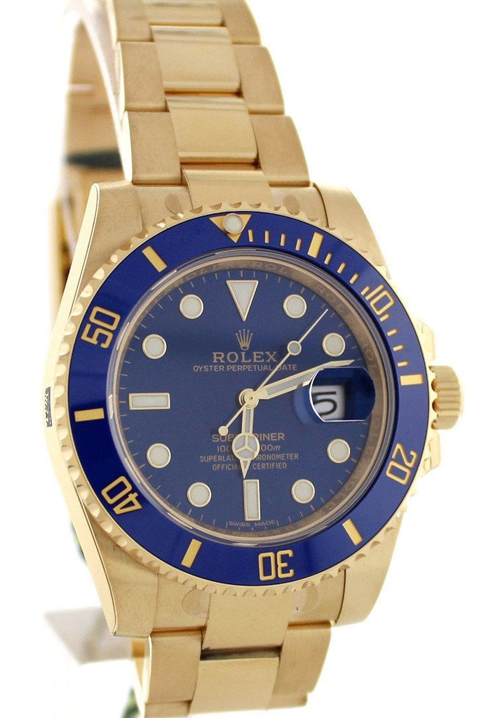 Rolex Submariner Date 40 Blue Dial 18K Yellow Gold Mens Watch 116618
