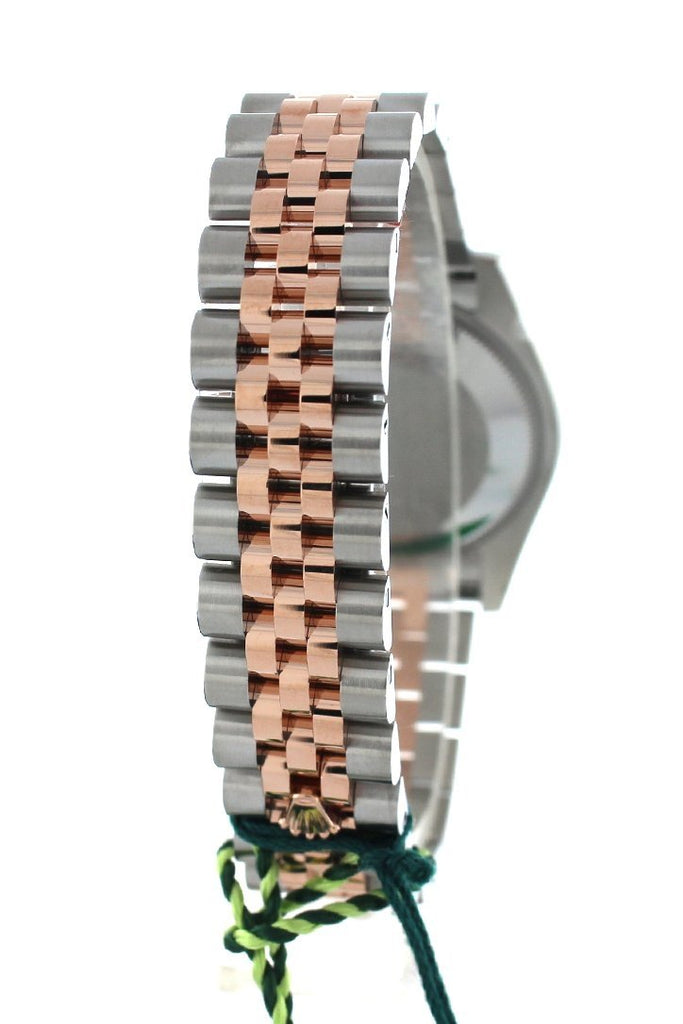 Rolex Datejust 31 Black Mother of Pearl Roman Dial  Fluted Bezel 18K Rose Gold Two Tone Jubilee Ladies Watch 178271