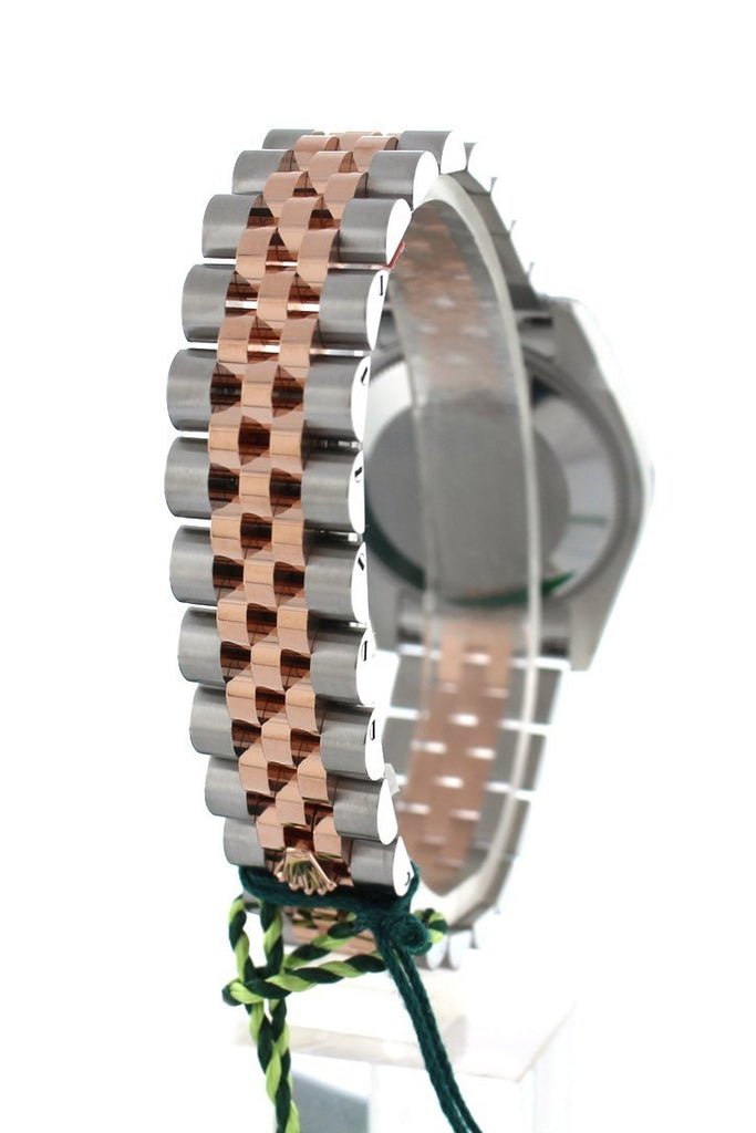 Rolex Datejust 31 Black Mother of Pearl Diamond Dial Diamond Bezel 18K Rose Gold Two Tone Jubilee Ladies Watch 178341