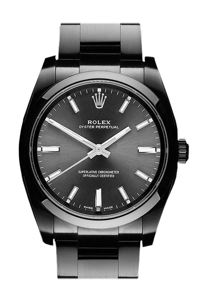 Rolex Black-Pvd Oyster Perpetual Black Dial Stainless Steel Boc Coating Mens Watch Pvd