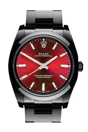 Rolex Black-Pvd Oyster Perpetual Red Dial Stainless Steel Black Boc Coating Mens Watch 114300 Pvd