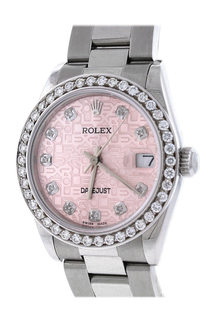 Rolex Custom Datejust 31mn 18k White Gold Diamond Bezel Ladies Watch 178274