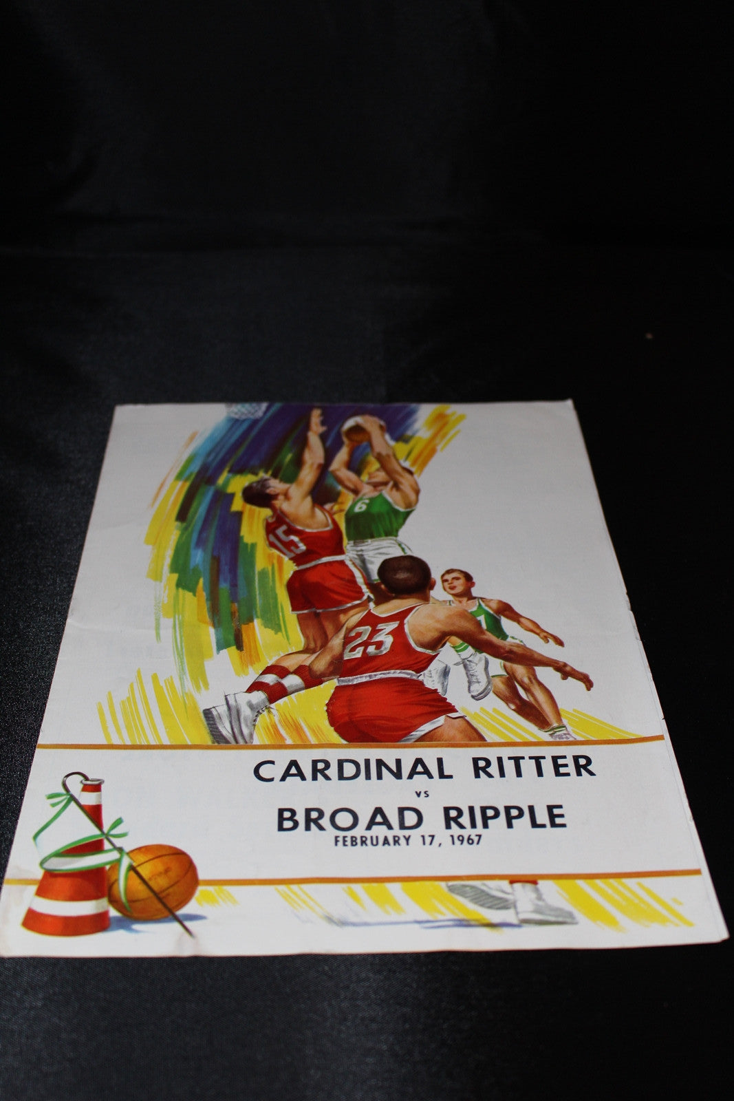 1967 Indianapolis Cardinal Ritter vs Broad Ripple Indiana H.S. Basketball Program - Vintage Indy Sports