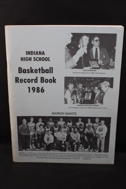 1986 Indiana High School Record Book, Marion Giants on Cover - Vintage Indy Sports