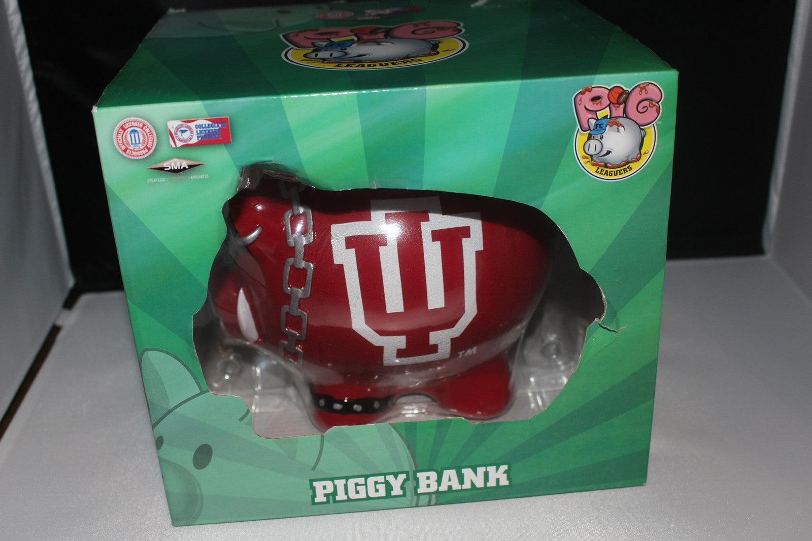 "Indiana University 7"" Tall Mohawk Piggy Bank, New in Box - Vintage Indy Sports"