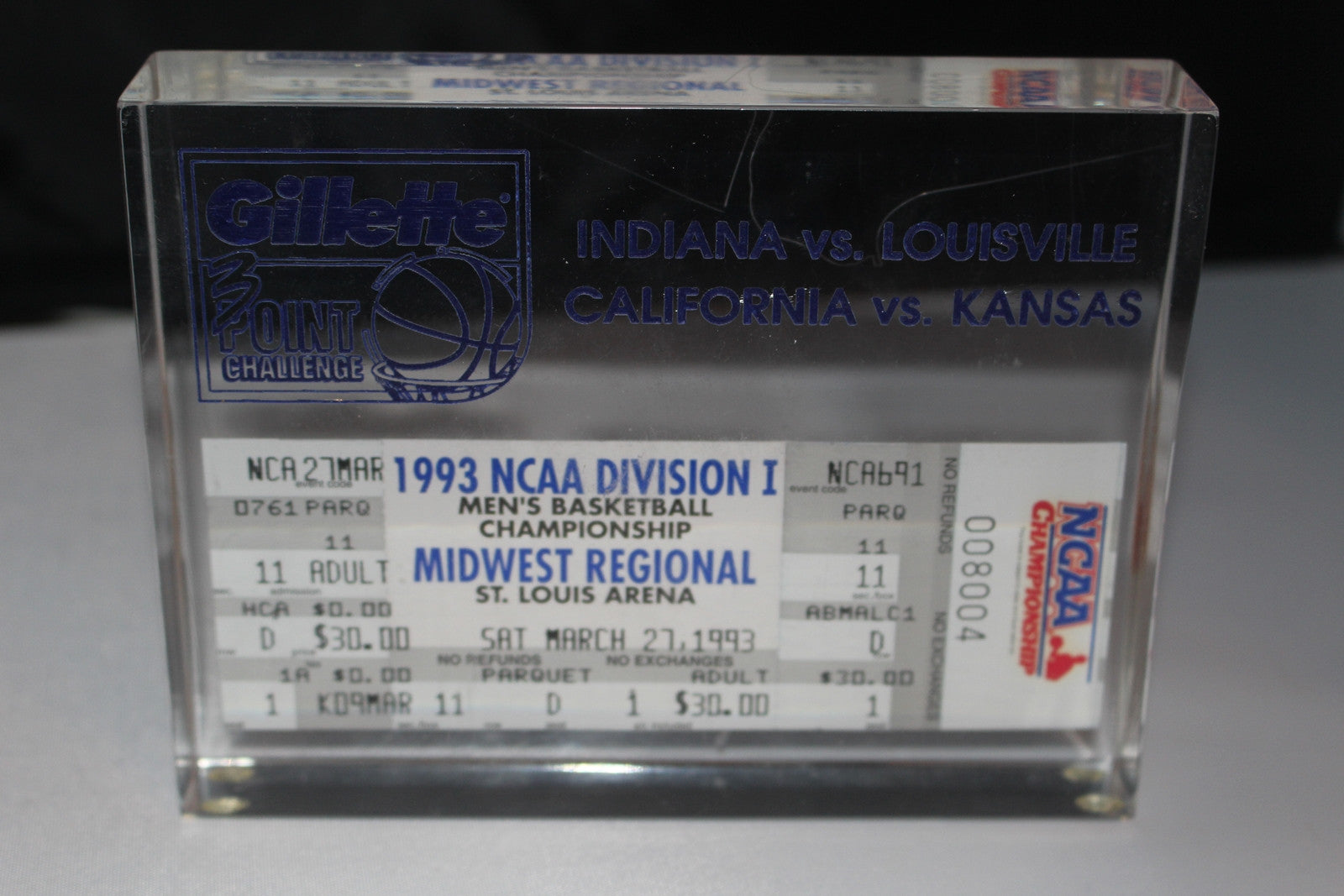 1993 NCAA Midwest Regional Encapsulated Ticket Indiana vs Louisville - Vintage Indy Sports