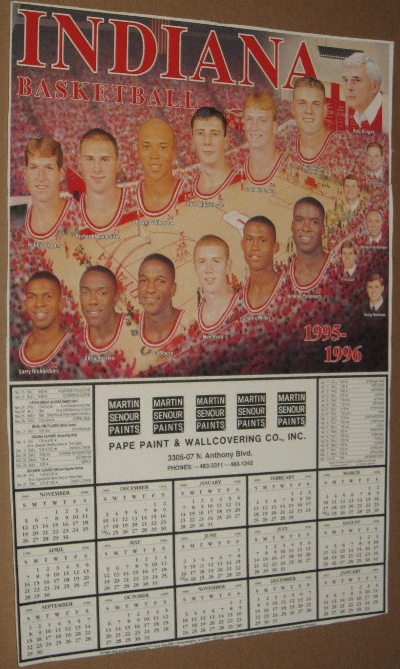 1996-96 Indiana University Basketball 11x17 Schedule Poster - Vintage Indy Sports