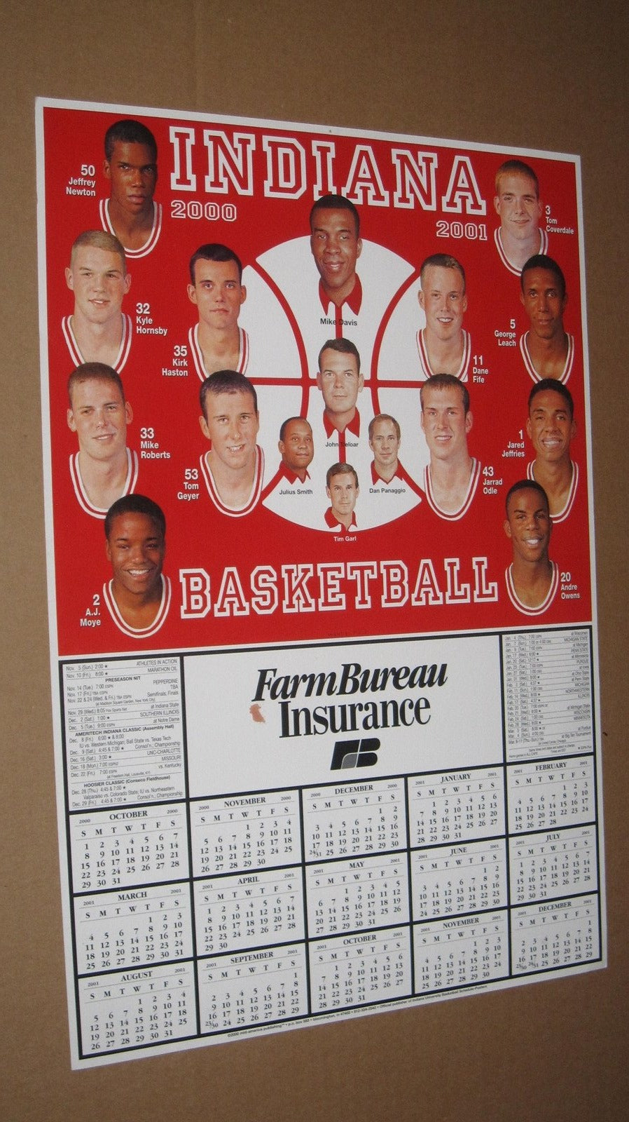 2000-2001 Indiana University Basketball 11x17 Schedule Poster - Vintage Indy Sports