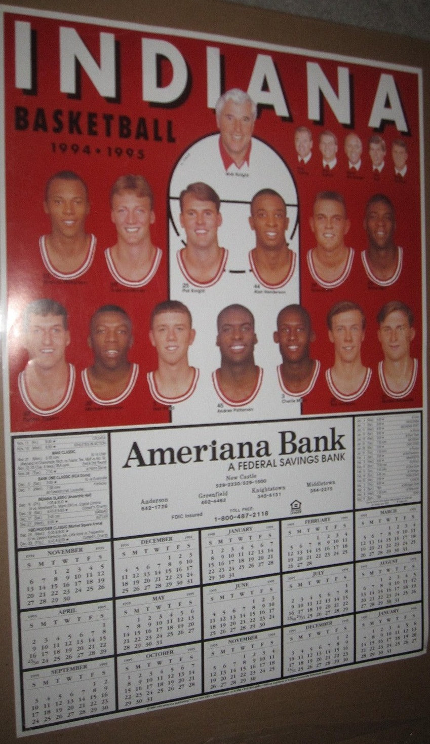 1994-95 Indiana University Basketball Schedule Poster, 11x17 - Vintage Indy Sports