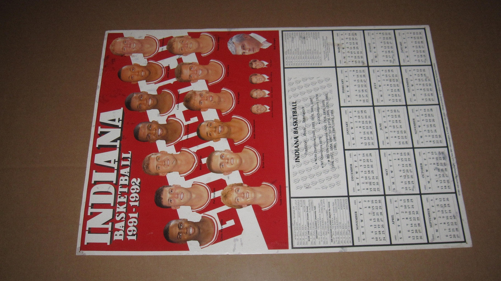 1991-92 Indiana University Basketball Schedule Poster, 11x17 - Vintage Indy Sports
