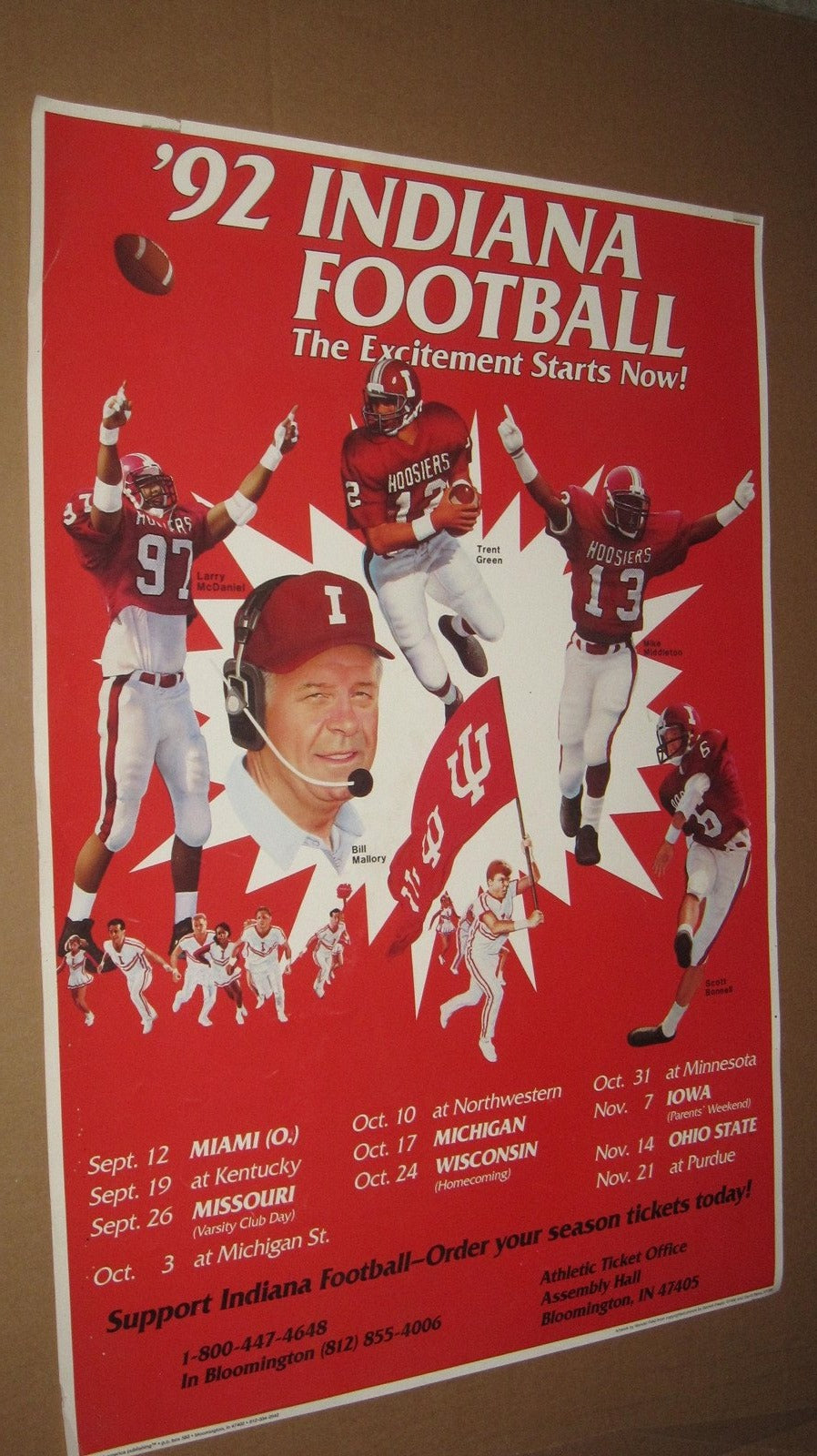 1992 Indiana University Football Schedule Poster 17x24 - Vintage Indy Sports