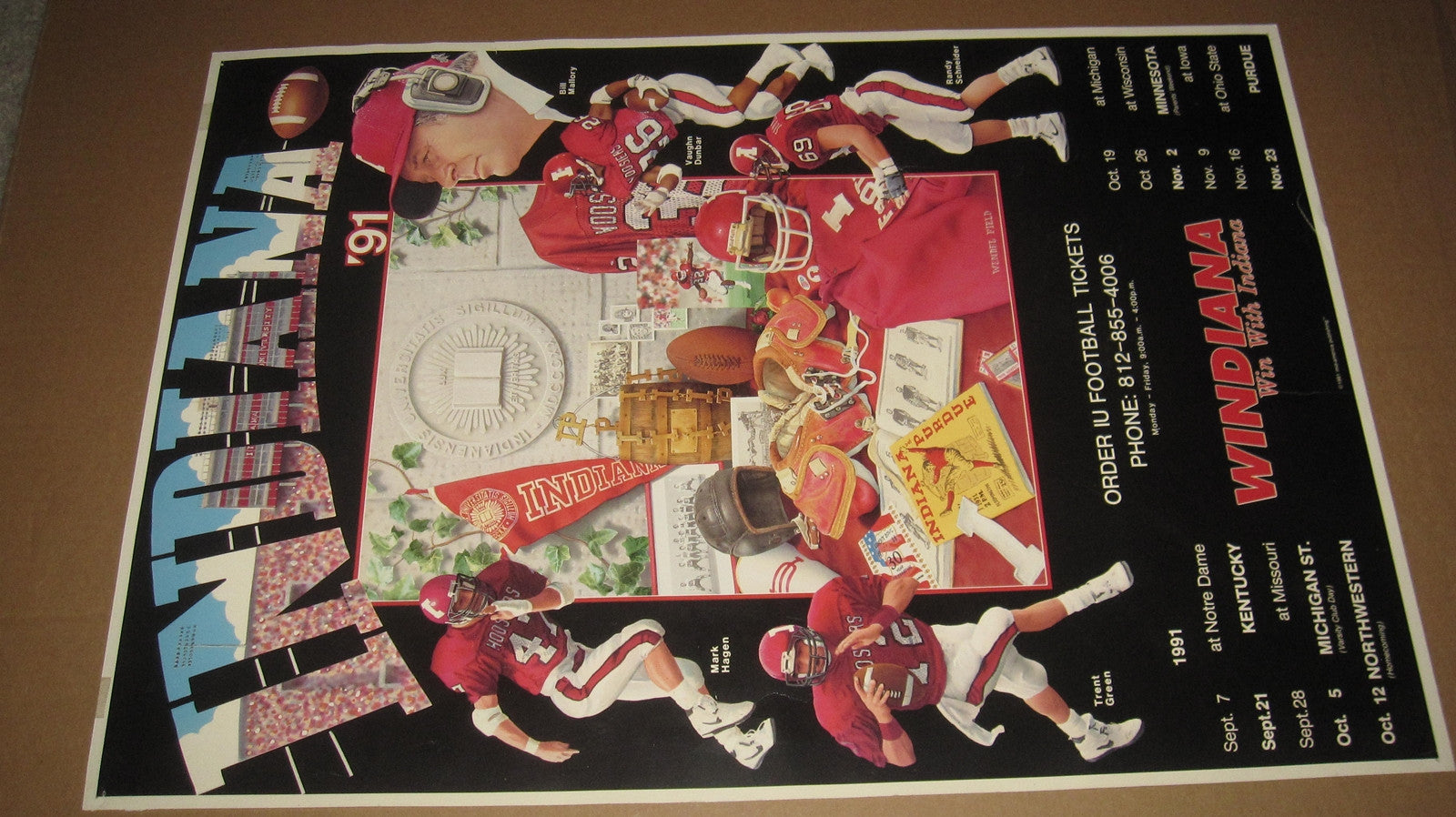 1991 Indiana University Football Schedule Poster 17x24 - Vintage Indy Sports