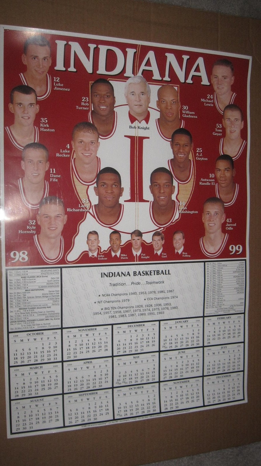 1998-99 Indiana University Basketball Schedule Poster 19x28 - Vintage Indy Sports