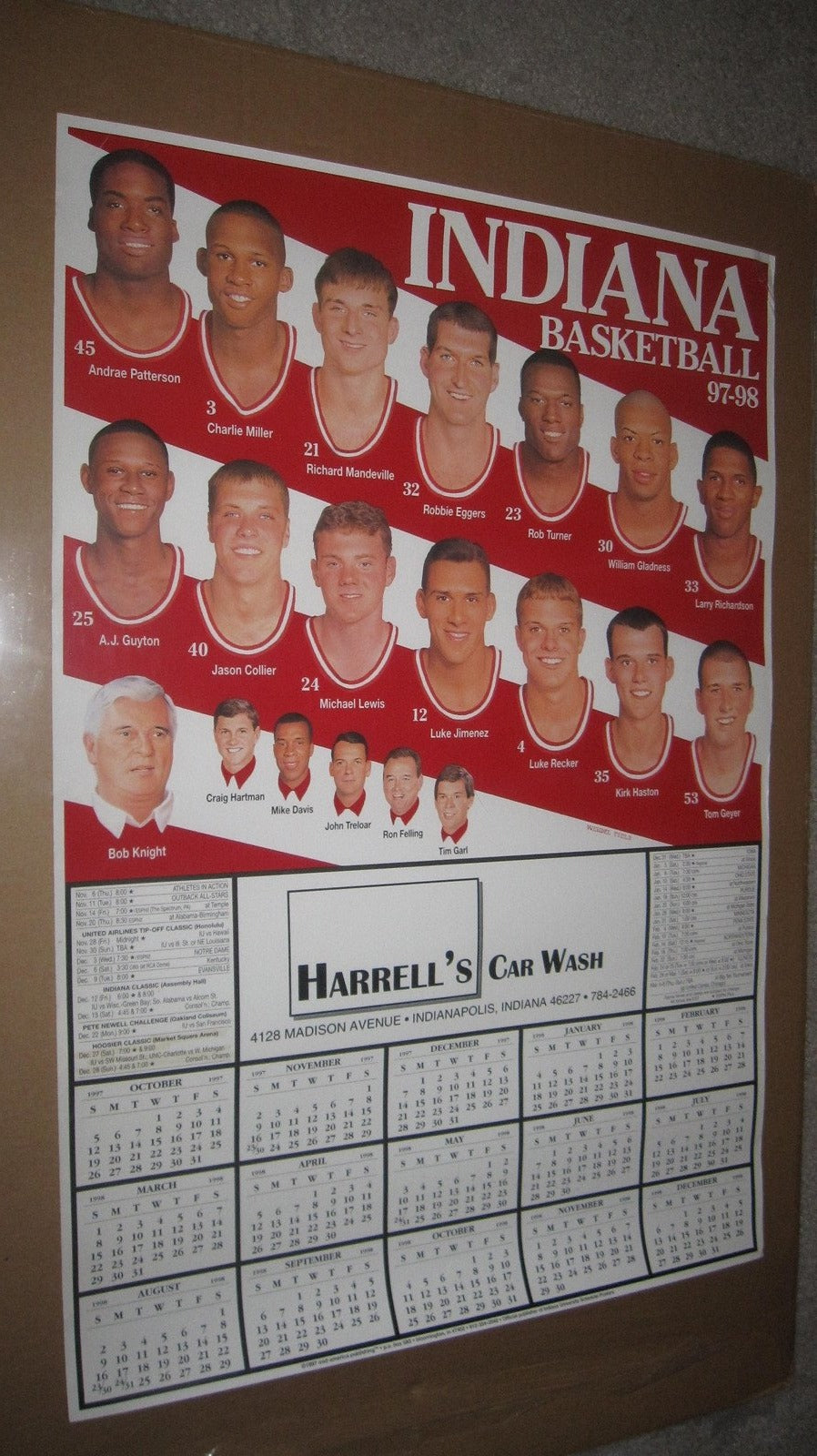 1997-98 Indiana University Basketball Schedule Poster 19x28 - Vintage Indy Sports