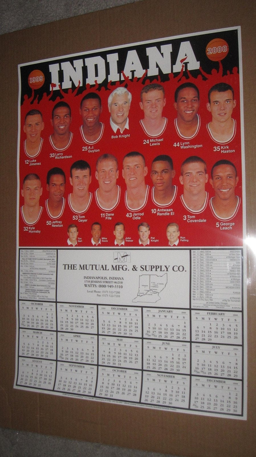 1999-2000 Indiana University Basketball Schedule Poster 19x28 - Vintage Indy Sports