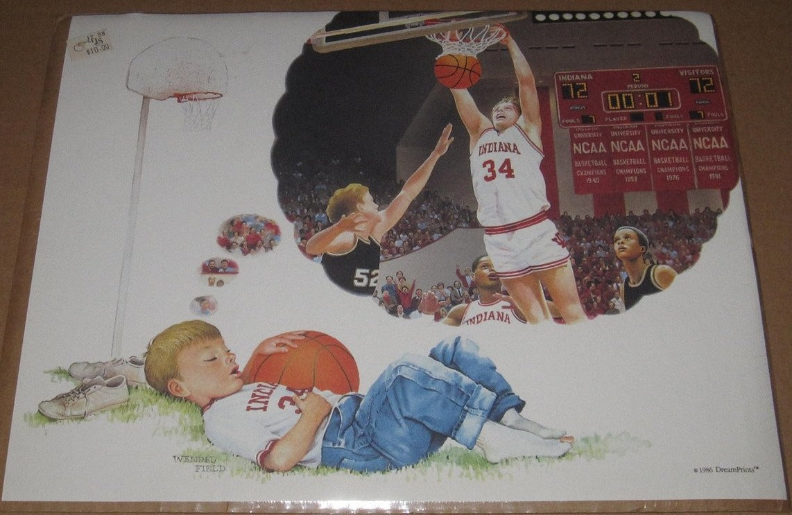 1986 Indiana University Basketball Daydreaming boy, Print, 14x11. - Vintage Indy Sports