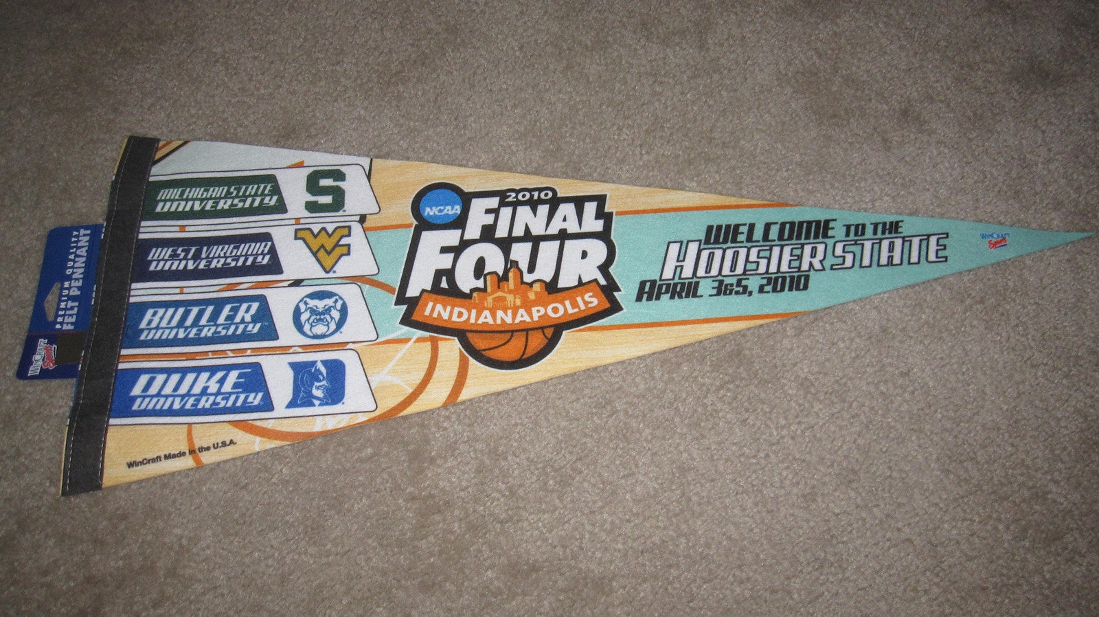 2010 NCAA Final Four Basketball Pennant, Butler, Duke, MIchigan St., West Virginia - Vintage Indy Sports