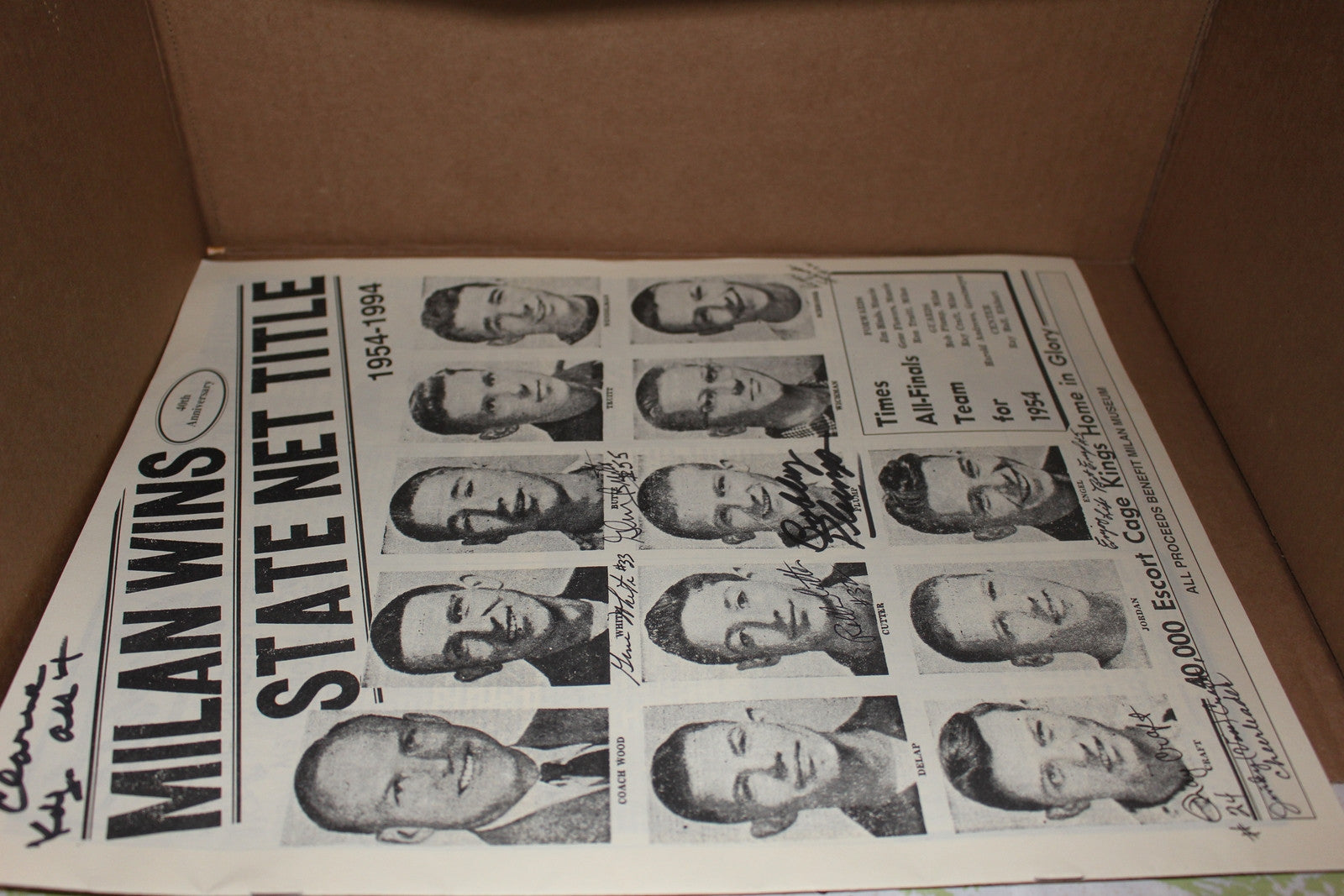 Milan High School 40th Anniversary Basketball State Champs Autographed Article Reprints. - Vintage Indy Sports