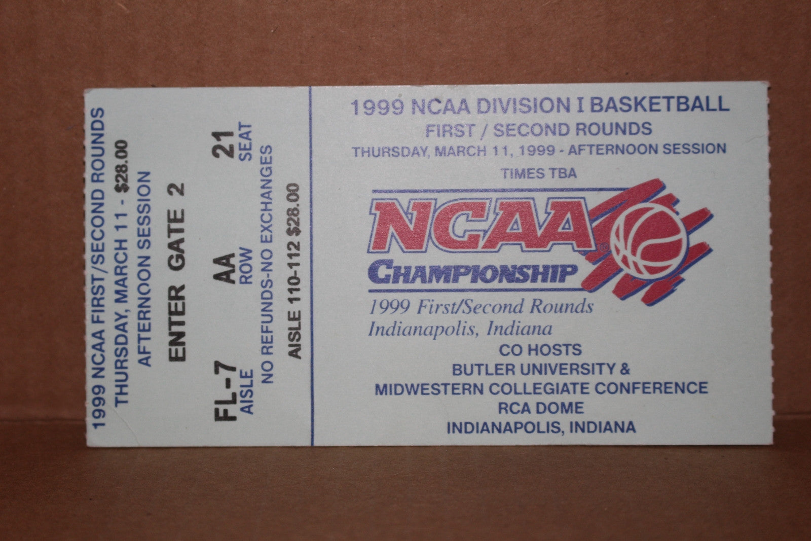 1999 NCAA Basketball First/Second Round Indianapolis Ticket Stub - Vintage Indy Sports