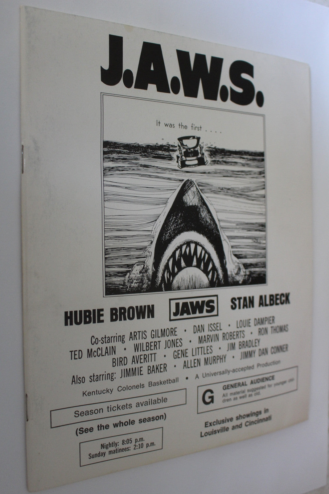 1975-76 Kentucky Colonels ABA Basketball Media Guide, JAWS Theme - Vintage Indy Sports