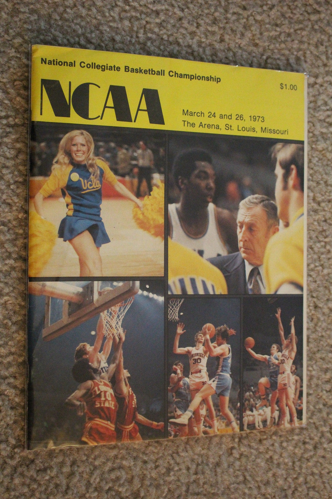 1973 NCAA Basketball Final Four Program, UCLA, Indiana - Vintage Indy Sports