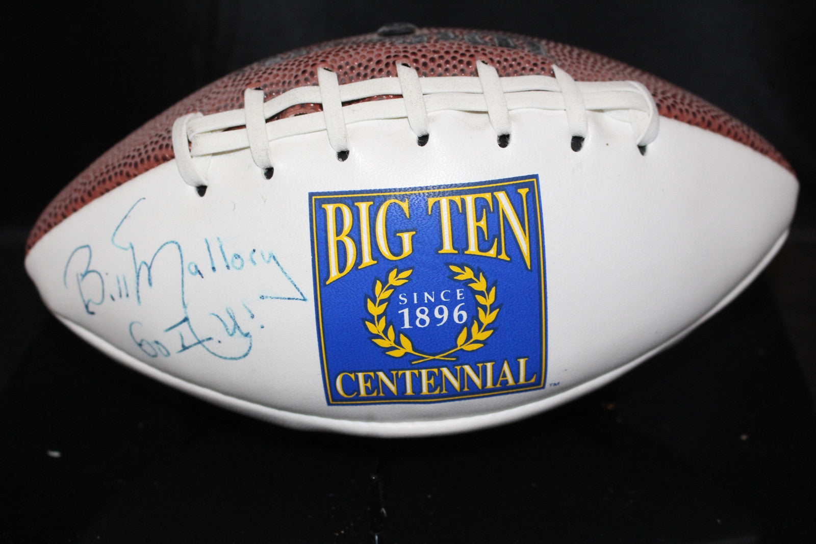Bill Mallory Autographed BigTen Centennial Logo Mini Football. - Vintage Indy Sports