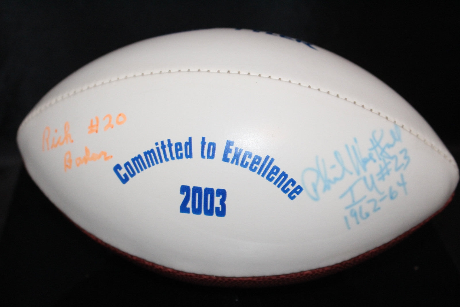 Rick Bader, Phil Westfall Autographed Mini Football, Indiana University - Vintage Indy Sports
