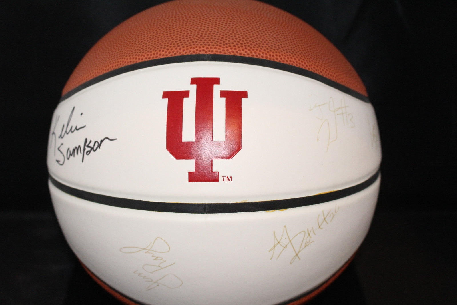 Multi Signed Indiana University Logo Basketball, Sampson, Rayl, Moye, Stemler - Vintage Indy Sports