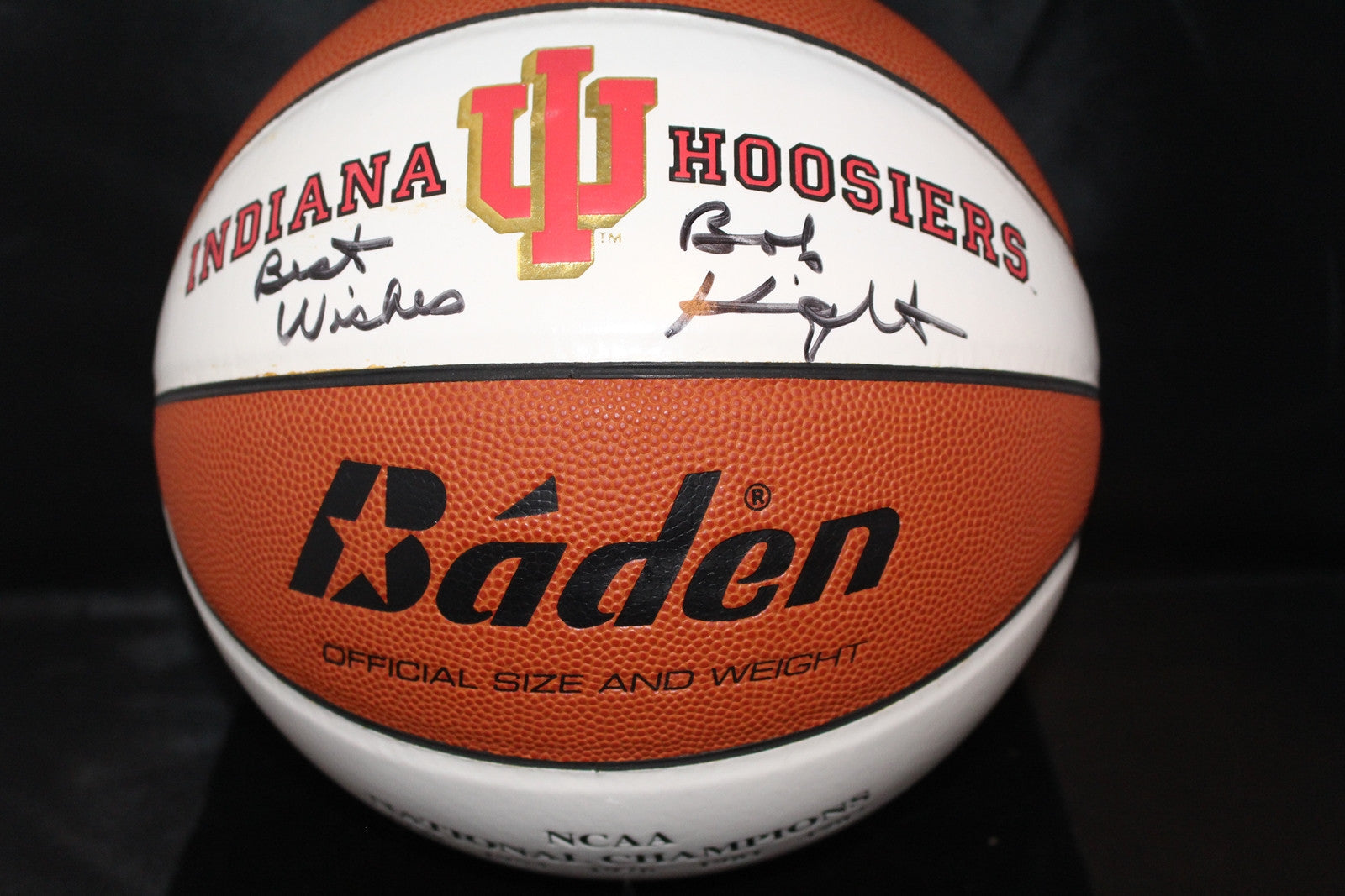 Bob Knight Autographed Indiana University NCAA Champions Logo Basketball - Vintage Indy Sports